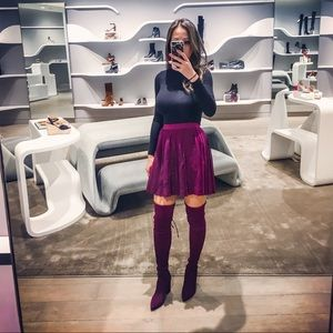 H&M Divided burgundy maroon pleated mini skirt